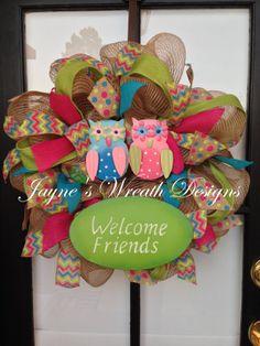 Spring Burlap Owl Wreath in vibrant colors