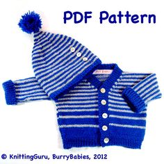 DiY Knit Pattern - Striped Baby Sweater & Hat: Easy Knitting