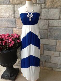 Royal blue white chevron maxi dress