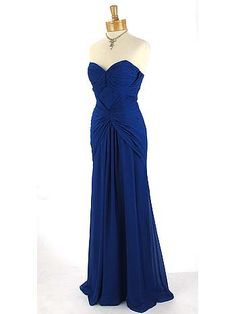Strapless 40's Inspired Sapphire Blue Ruched Draped Chiffon Evening Gown