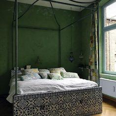 Exotic Iberian Bedroom wall colors, bed frames, cozy bedroom, canopy beds, green, tile, bedroom design, bedrooms, dream bed
