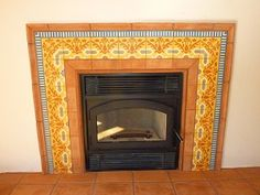 Cuban cement tile border surrounds a fireplace with warmth.