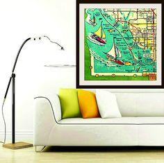 Map art print retro Florida