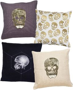 27 Spooky (and Sophisticated) Halloween DecorIdeas edgy decor, halloween decor, dream, halloween fun, first house, dark decor, skull pillow, edgy pillows, printed throw pillows