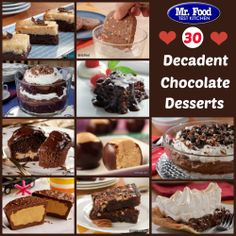 30 Decadent Chocolate Desserts - A must-have for all of your holiday get-togethers.