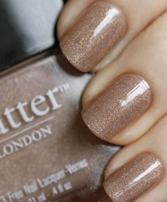 Twinkling Holographic Taupe Nail Design