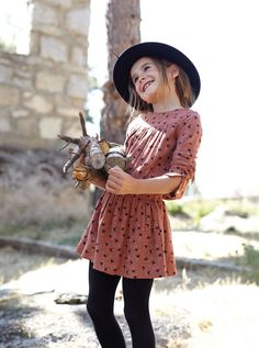 Gorgeous look with opaque tights and felted hat.  #designer #kids #fashion