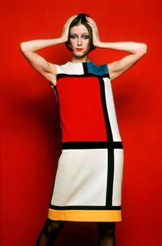 Famous Creation by Fashion Designer Yves Saint Laurent dress inspired in Mondrian.1965.