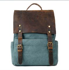 Backpack with leather flap, canvas body... Dreamy blue.