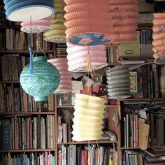 books and Chinese lanterns