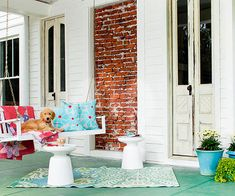 coastal cottage, porch swings, outdoor rugs, porch retreat, beach houses, dress up, curb appeal, accent colors, front porches