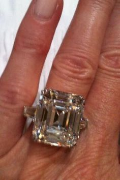 Harry Winston 9.8 carat emerald cut diamond ring - just trying on while mine is being cleaned | themarriedapp.com hearted <3