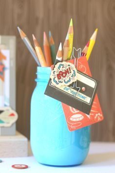 Learn how to make this lovely pencil holder with Crate Paper products! Perfect for back to school! #cratepaper #backtoschool