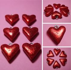 polymer clay hearts with glitter...I MUST figure out how to make these