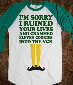 I'm Sorry I Ruined Your Lives (Buddy Elf Baseball Shirt) - Fun Movie Shirts - Skreened T-shirts, Organic Shirts, Hoodies, Kids Tees, Baby One-Pieces and Tote Bags on Wanelo