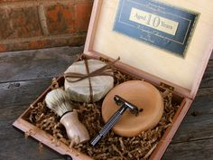Wooden Men's Shave Set with Vintage Cigar Box.