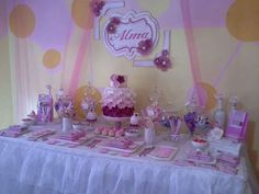 Pink and purple romantic flower party dessert table!  See more party ideas at CatchMyParty.com!