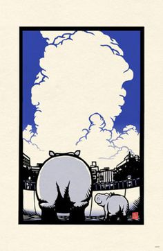Hippo Mama & Baby by Ryo Takagi  Block print
