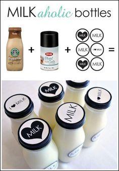 milk bottles bottle crafts, starbuck bottl, milk bottles, kid parties