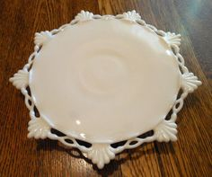 Beautiful Vintage Open Lace White Milkglass Pedestal Cake Plate~Shabby n Chic | eBay