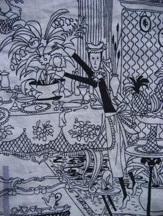 Vintage BRITISH Tea Towel WHERE is SYLVIA  Irish Linen