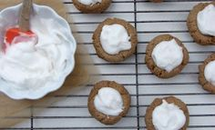 Thumbprint cookies with vanilla Cream filling