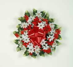 Artificial silk Poinsettia wreath for decorating a grave at Christmas. http://pict.com/p/BuM