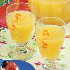 Beetle Juice Mocktail  (1 cup sugar  1 cup water  2-1/2 cups white grape juice  1-1/2 cups orange juice  1 cup lemon juice)