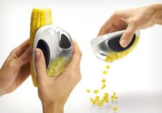 Want your #corn off the cob? Just grip the OXO Good Grips #CornStripper against the edge of an ear of corn and swipe downward. -- #kitchentech