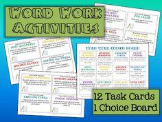 task cards, languag art, word work stations, spelling words, daili 5cafe
