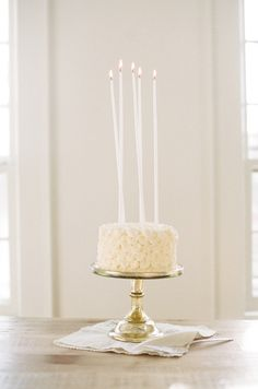 White with candles.