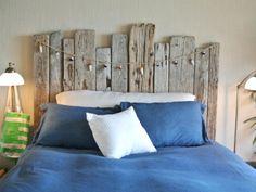 driftwood headboard by interior designer Allison Lind  ~  nautical beach shore bedroom bed