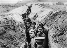 Narrow trench on the Western Front during World War I