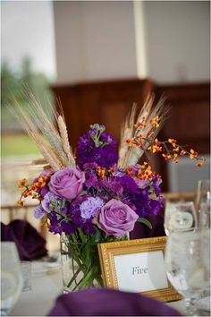 Rustic Purple Centerpiece Centerpieces Fall Indoor Reception Rose Wedding Reception Photos & Pictures - WeddingWire.com