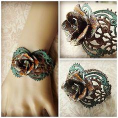 Rusty rose filigree bracelet with rust and verdigris patina