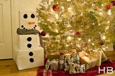 Snowman gift tower