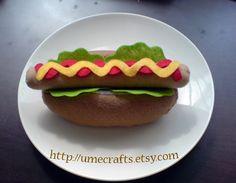 felt food hot dog