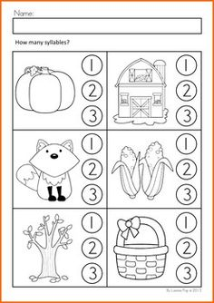Worksheets & Activities - Autumn (Beginning Skills). A page from the unit: Syllables: clap each word and listen to the syllables, then color the correct circle to show how many syllables are in the word.