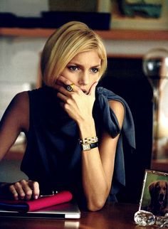 anja rubik, fashion, style, blue, bracelets, blous, peter lindbergh, cartier watches, back to basics