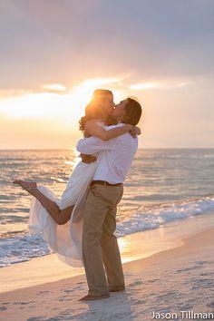 Beach wedding pose