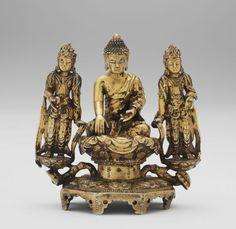 Buddhist Triad: Amitabha Buddha Seated on a Lotus Throne with His Hands Held in the 'Bhûmisparsa-mudrâ' and Flanked by Two Standing Bodhisattvas, Presumably Avalokitesvara and Mahasthamaprapta, mid-15th century, Harvard Art Museums/Arthur M. Sackler Museum. amitabha buddha, harvard art, sackler museum, hand held