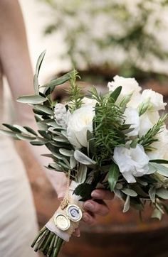Beautiful way to honour someone who has passed on but is in your heart on your wedding day ~~Rustic Wedding Bouquets