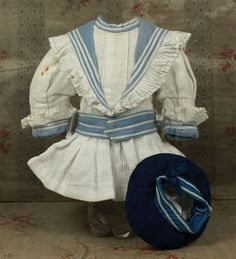 Marvelous Small Size French Antique Factory-Original Marine Bebe Costume circa 1890's