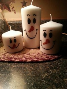 Snowman Candles- Use Sharpies To Make The Faces - Great Hostess Gifts Or Craft Fairs holiday, teacher gifts, snowmen candl, xmas crafts, candles, melted crayons, christmas craft fair ideas, hostess gifts, snowman candl