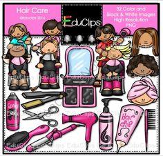 Hair Care Clip Art Bundle from Educlips on TeachersNotebook.com -  (32 pages)  - Hair Care Clip Art Bundle