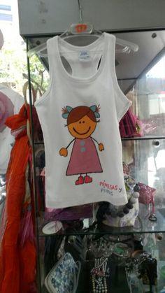 Camiseta niña pintada a mano