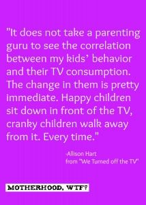 Motherhood, WTF? tells what happened when she turned off the TV.