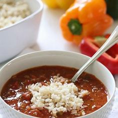 Stuffed Pepper Soup. use brown rice and top sprinkle of parm cheese