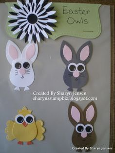 Stampin' Up! Owl Punch Art - Easter Owl bunnies and chick   By:Sharyn's Stamp Biz owl punch, easter owl, craft, su owl, stamp biz, owl bunni