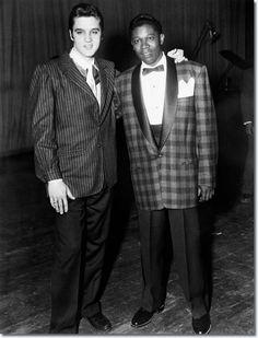 Elvis Presley and B.B. King backstage, December 7, 1956.